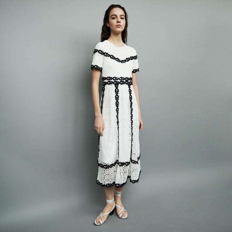 Vestido largo de encaje bicolor : Vestidos color Bicolor
