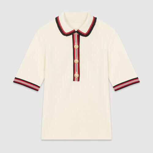 Polo de punto cerrado : Jerseys y cárdigans color Ecru