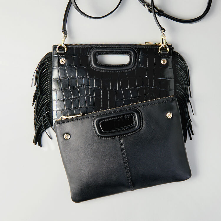 Cartera M Duo cuero en relieve cocodrilo : M Duo color Negro