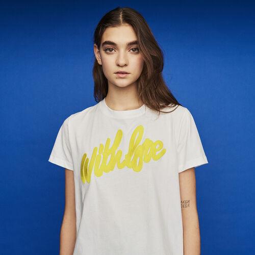Camiseta con texto bordado : New in : Colección Verano color Blanco