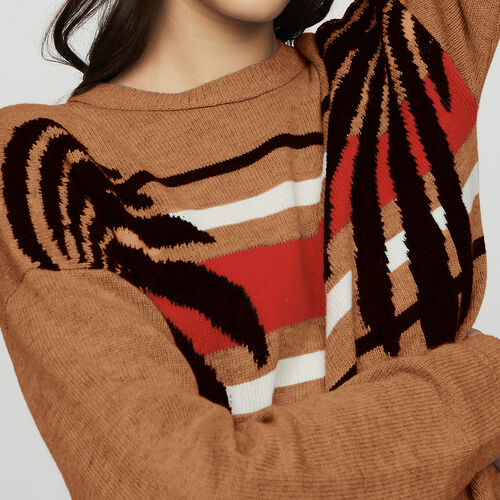 Jersey mangas largas en jacquard : Malla color Camel