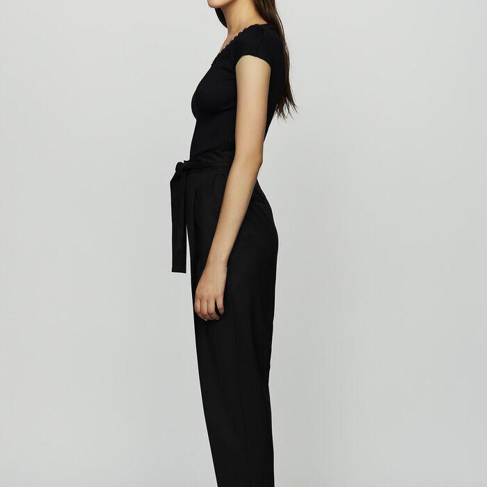 Pantalón de pinzas de lana virgen : Nueva Colección color Negro