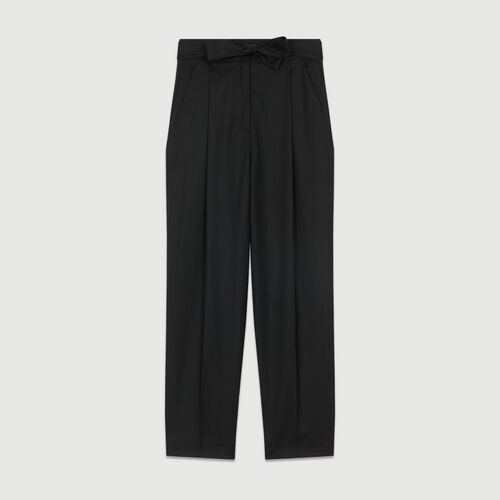 Pantalón de pinzas de lana virgen : Pantalones color Negro