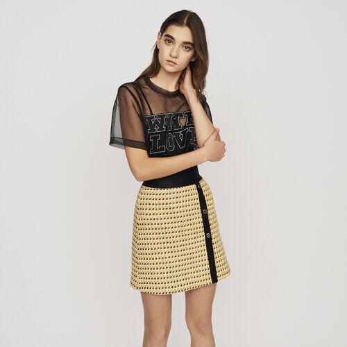 Falda corta de Tweed y Lurex : Faldas y shorts color Amarillo