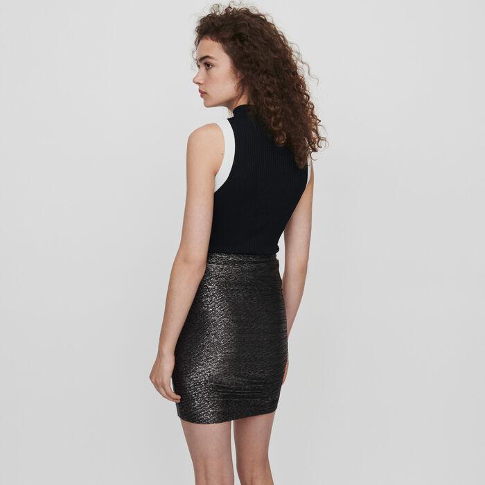 Falda drapeada avolantada en lurex : Faldas y shorts color Plateado