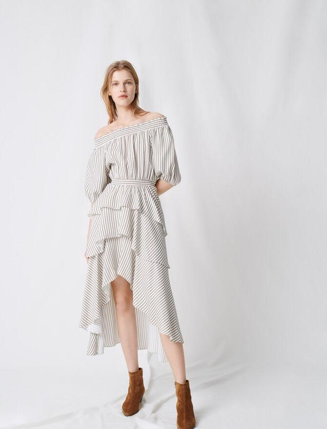 Vestido a rayas con volantes y fruncidos - Vestidos - MAJE