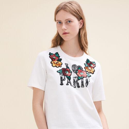 Camiseta con estampado y lentejuelas : T-shirts color Crudo