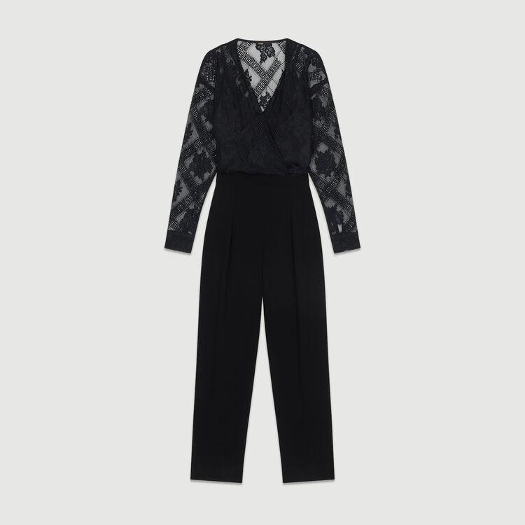 Mono-pantalón de crepé y encaje : Monos color Negro