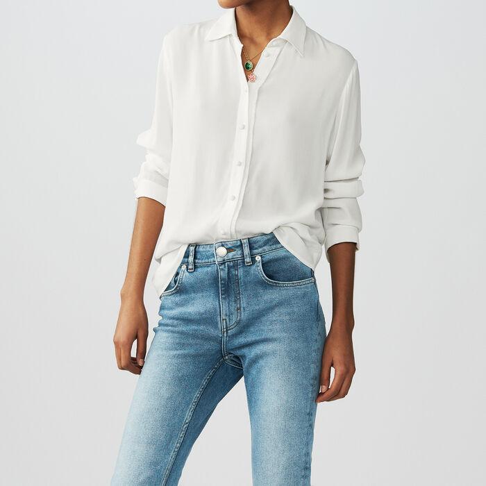 Camisa fluida con mangas largas : Camisas color Crudo