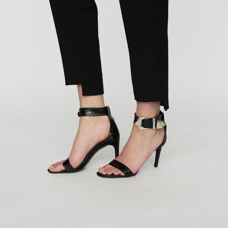 Pantalón recto de crepé : Prêt-à-porter color Negro