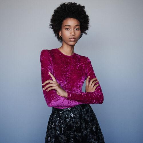 Body en terciopelo raso : T-Shirts color Rosa