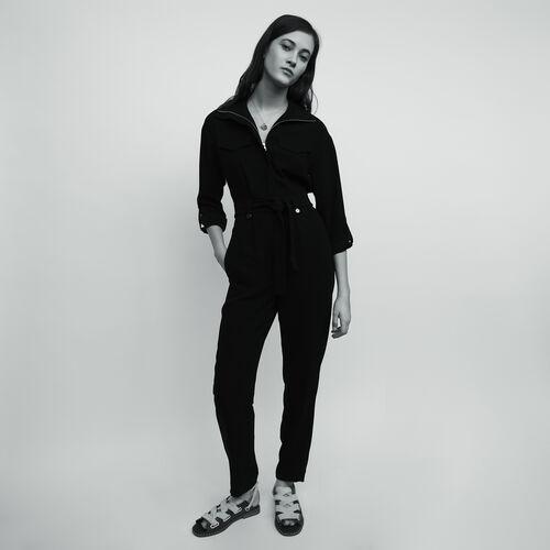 Mono pantalón de crepé : Pantalones y Jeans color Negro