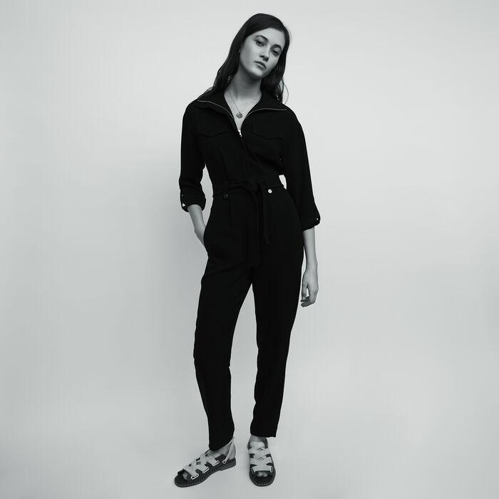 Mono pantalón de crepé : Pantalones color Negro