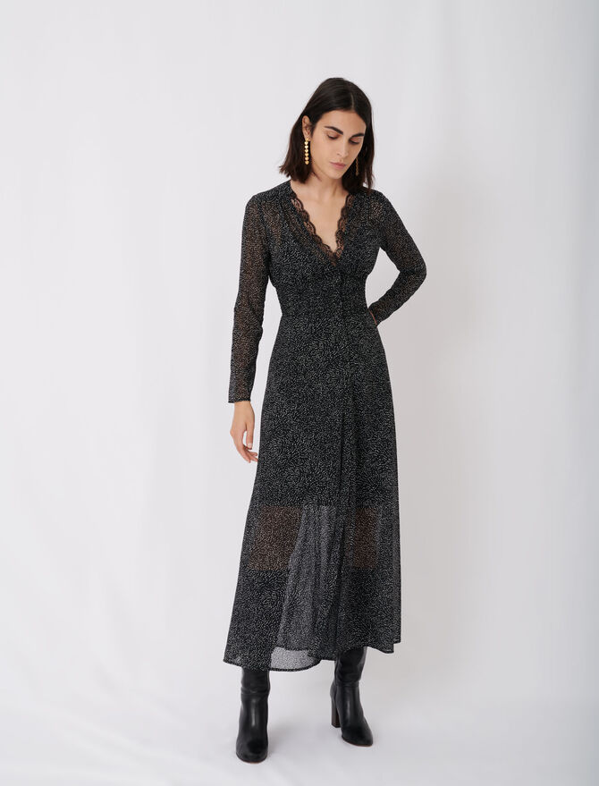 Vestido jacquard, terciopelo y lunares - Pixie's story - MAJE