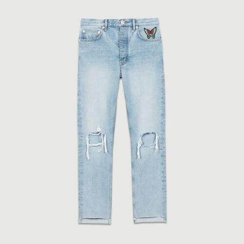 Jean corto con efectos lavado : Jeans color Denim