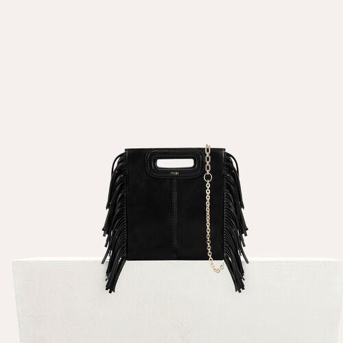 Mini bolso M de piel con flecos : Bolsos M color Negro