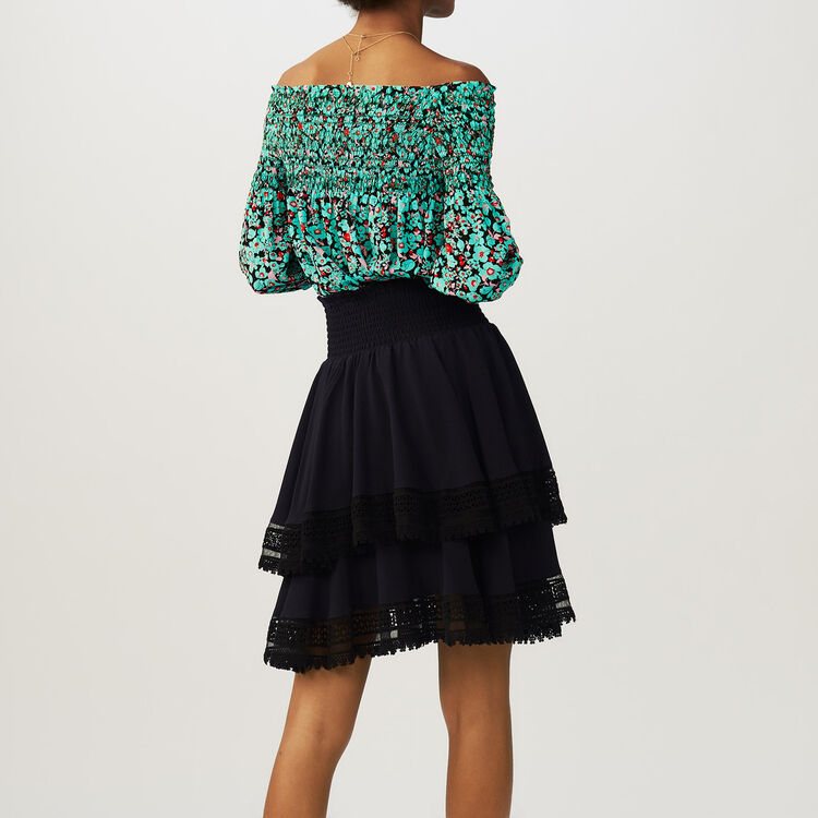 Flounced skirt with lace : Faldas y shorts color Azul Marino