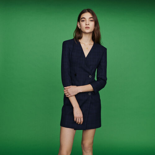Vestido sastre de cuadros difusos : Vestidos color Azul Marino