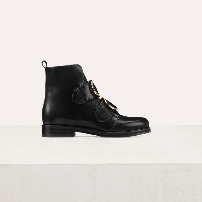 Botines de cuero con correa : Zapatos color Negro