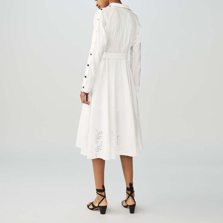 Vestido camisero largo con bordado : Vestidos color Blanco