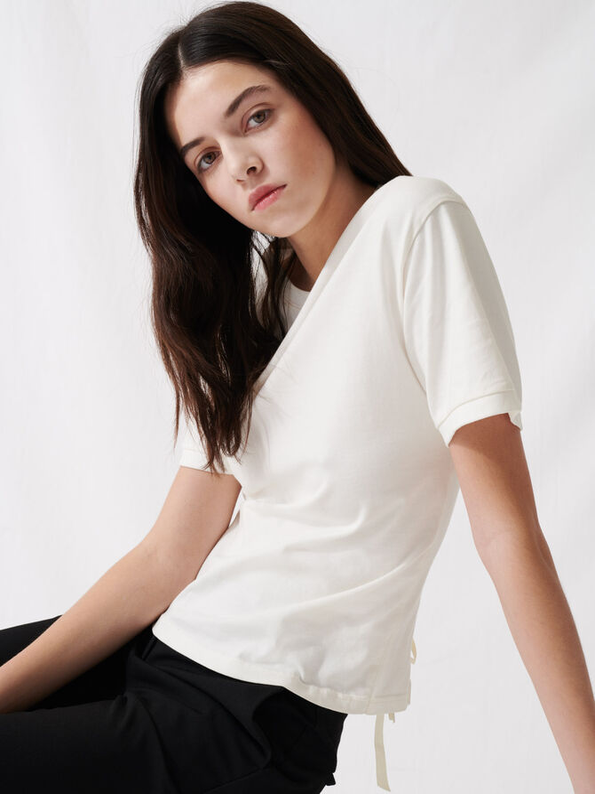 Camiseta crudo con lazada posterior - T-Shirts - MAJE