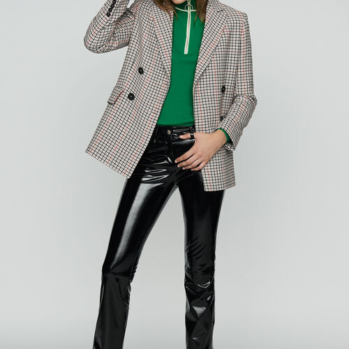 Blazer de cuadros en lana mezclada : Office girl color CARREAUX