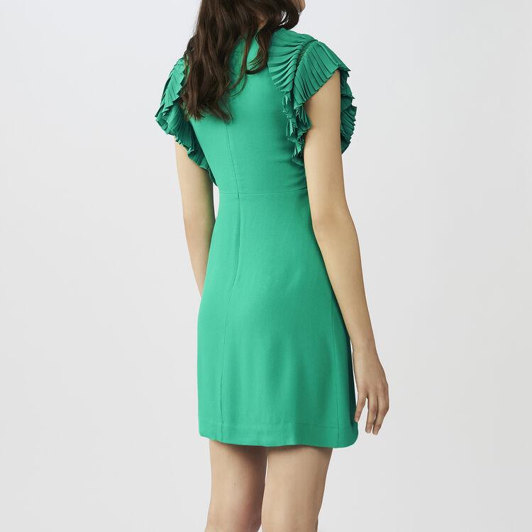Vestido recto con mangas plisadas : Vestidos color VERT
