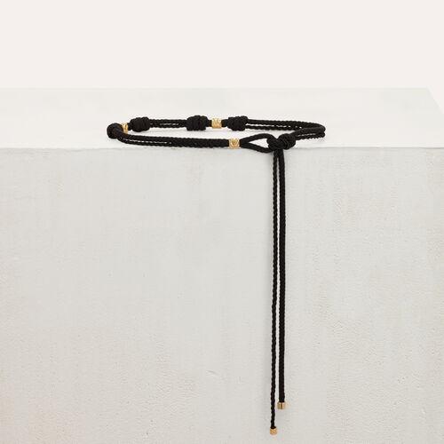 Cinturón cuerda con tachuelas : Cinturones color Negro