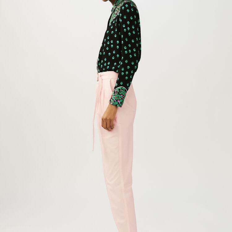 Pantalón carrot con cinturón : Pantalones color Rosa Claro