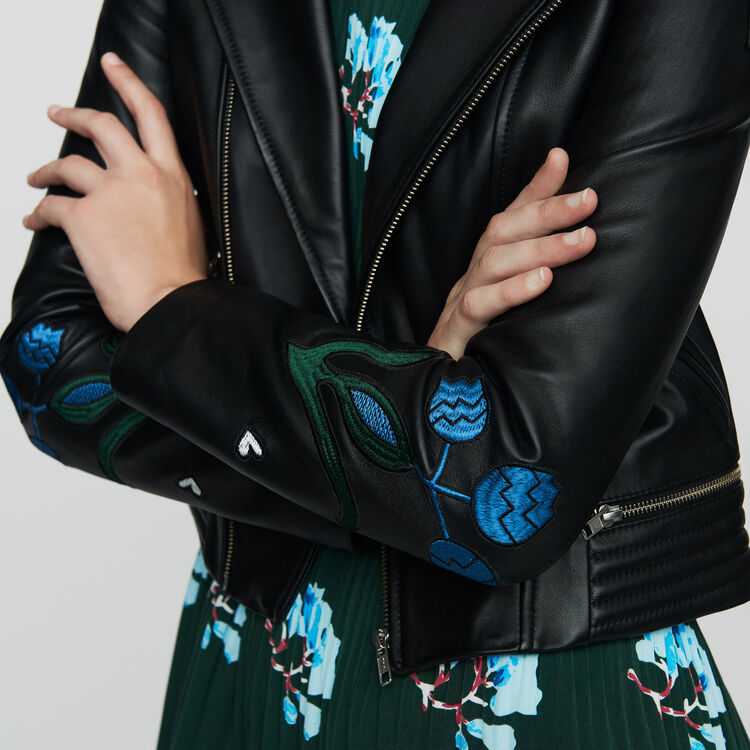 Cazadora de cuero con bordados : Prêt-à-porter color NEGRO