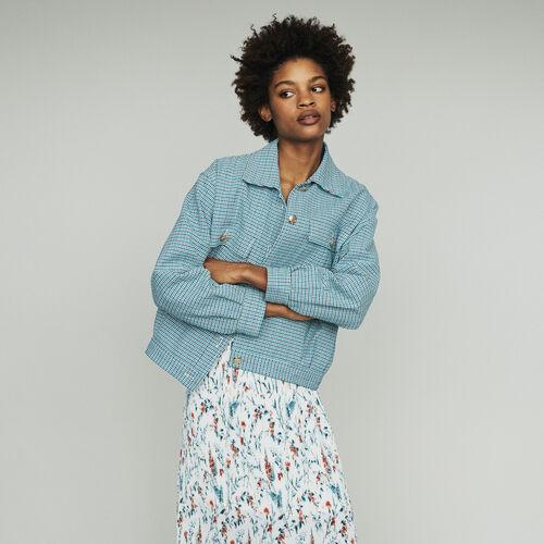 Cazadora en tejido tipo tweed : Abrigos y Cazadoras color Azul