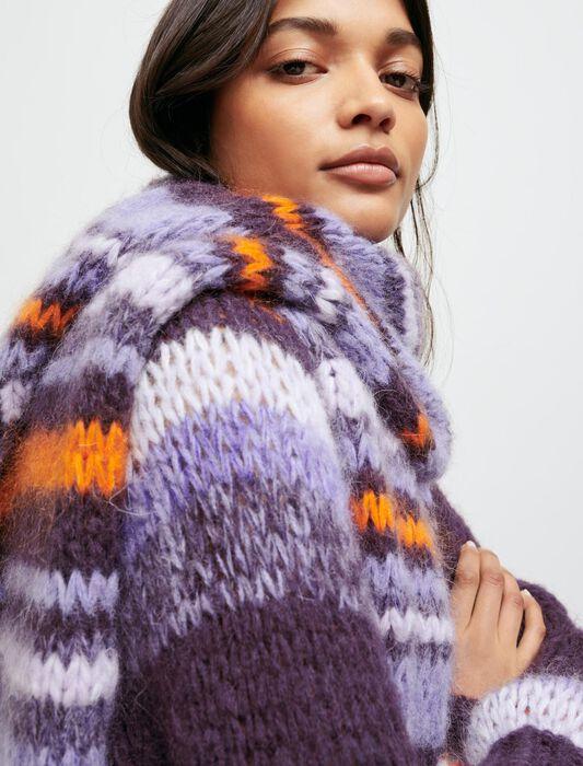 Bufanda larga de punto con rayas : Pañuelos & Ponchos color Violeta