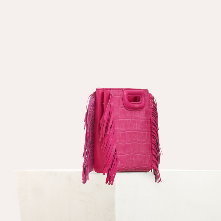 Mini-bolso M en croco con cadena : M Mini color Rosa