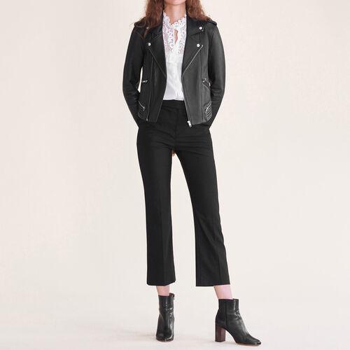 Pantalón de calle de lana : Pantalones y vaqueros color Negro