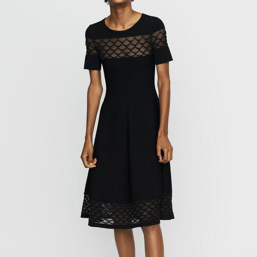 Vestido de punto stretch con detalles : Vestidos color Negro