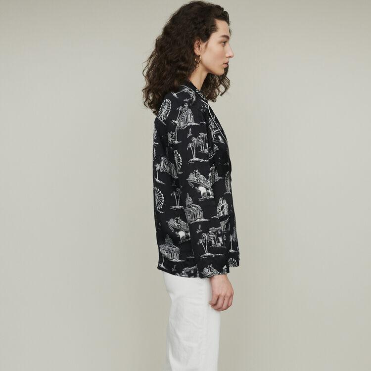 Blusa estampado Paris : Tops y Camisas color NEGRO