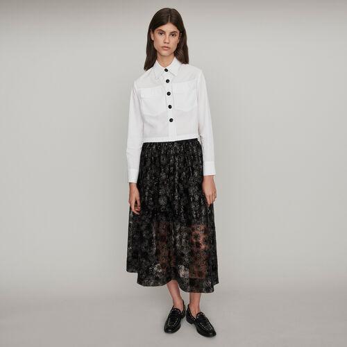 Blusa popelina con botones a contraste : Tops y Camisas color Blanco