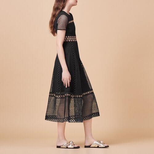 Vestido largo con bordado : Vestidos color Negro