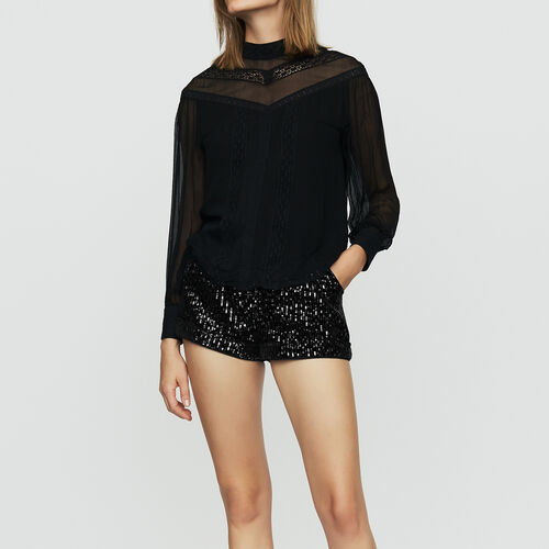 Blusa de gasa con bordados : Tops color Negro