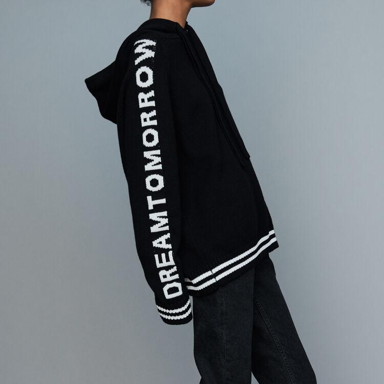 Jersey oversize con capucha con texto : Malla color Negro