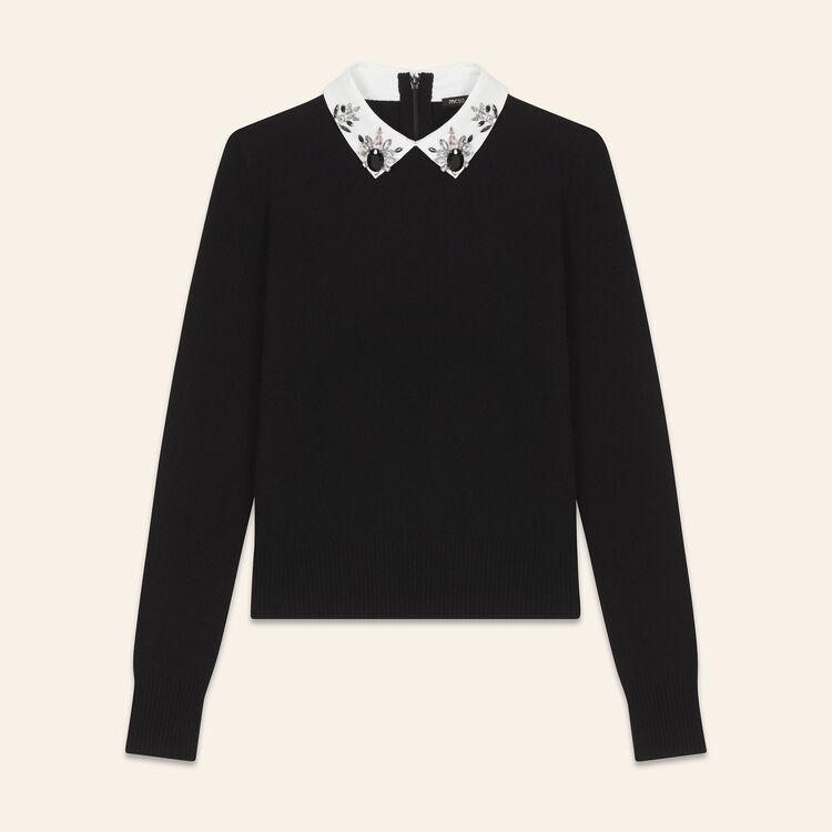 Jersey con cuello camisero y strass : Jerseys y cárdigans color Negro