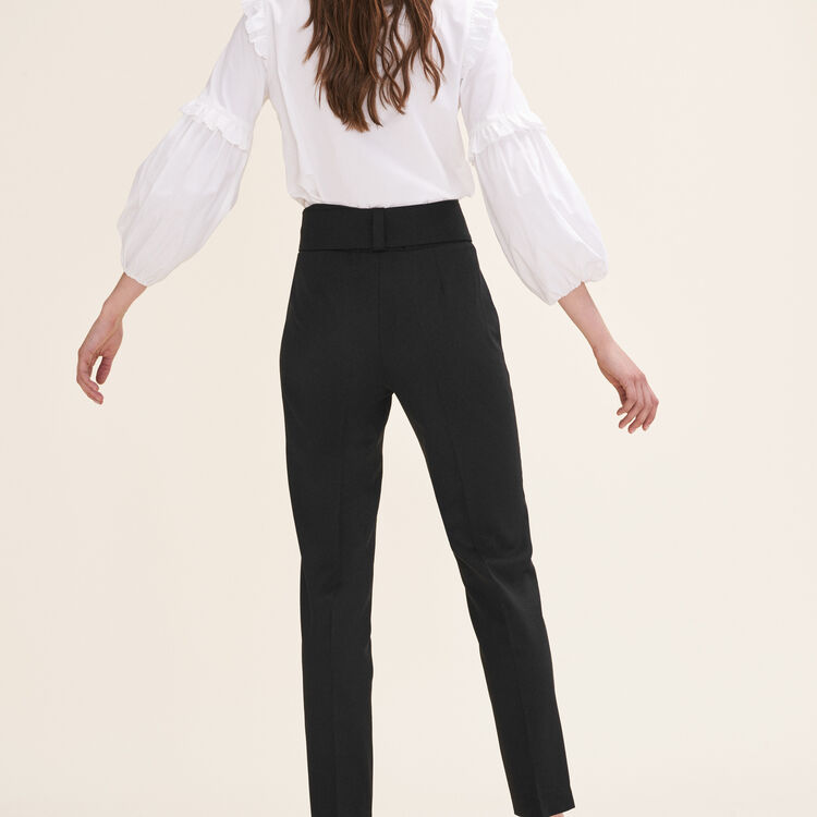 Pantalón de corte zanahoria con lazo : Pantalones y Jeans color Negro
