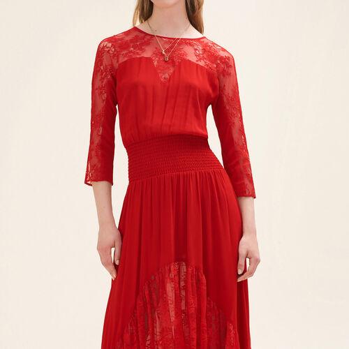 Vestido largo de encaje : Vestidos color Rojo