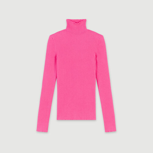 Jersey fino canalé cuello alto : Jerseys y cárdigans color Rosa Flúor