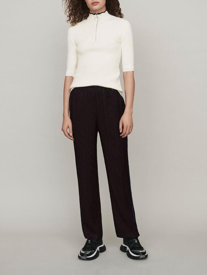 Pantalón fluido en Jacquard de raso - Pantalones y Jeans - MAJE
