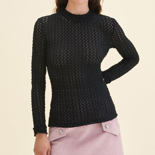 Top con mezcla de bordado : Tops color Negro