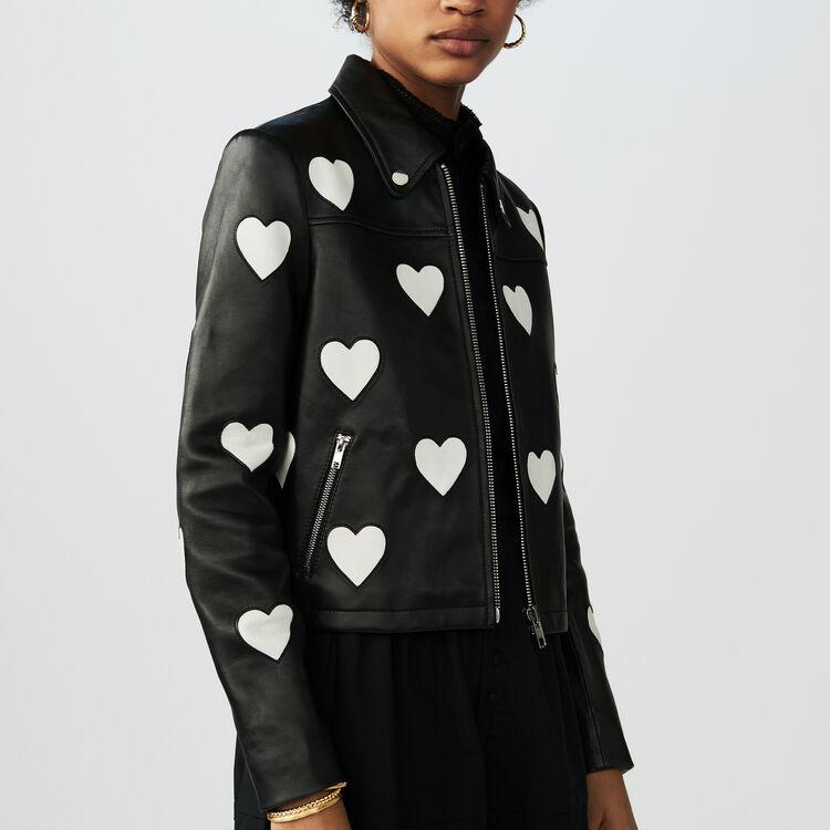 Chaqueta corta de cuero con corazones : Jackets color Negro