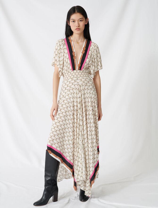 Vestido de muselina estampado pañuelo - Vestidos - MAJE