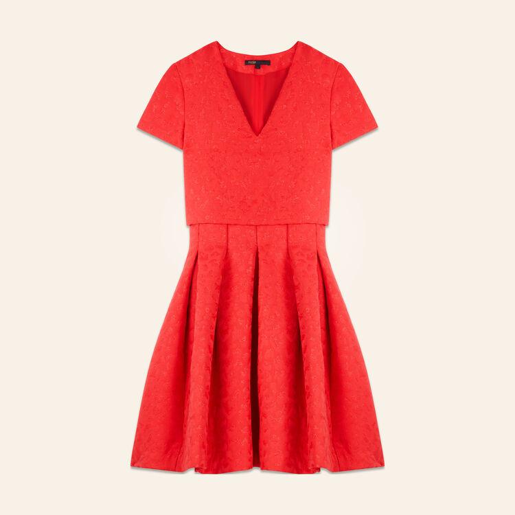 Vestido sin mangas de jacquard, leopardo : Vestidos color Rojo
