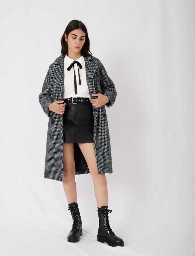 Abrigo de tricotine de cuadros - Nueva colección - MAJE